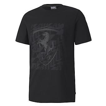 Puma Ferrari Big Sheild Tee Męskie Logo Logo T-Shirt Czarny 596127 01