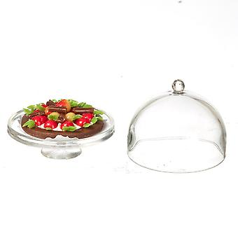 Dolls House Strawberry Tart Op Cake Stand Dome Lid Miniatuur Dineren Accessoire