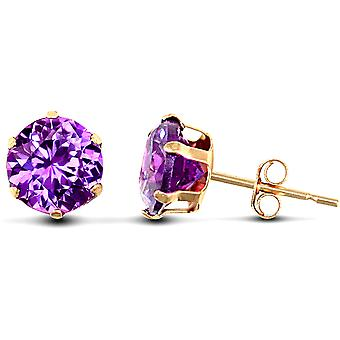 Jewelco London Ladies 9ct Yellow Gold Purple Round Brilliant Cubic Zirconia Solitaire Claw Set Stud Boucles d'oreilles, 6mm