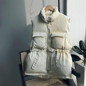 Korejský volný zahušťování krátké a dlouhé pasu bavlna vesta dámské sako
