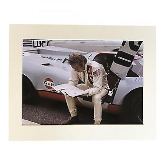 Larrini Mcqueen Le Mans Reading Newspaper A4 Mounted Photo