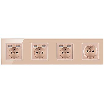 Glass Panel Four-slot Power Socket With Pins And 6 Usb Charging Port