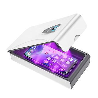 Kannettava Uv-puhelimen sterilointilaite matkapuhelimen naamiolla (valkoinen)