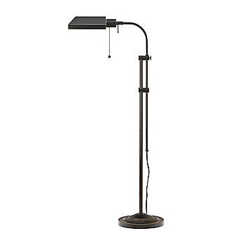 Lámpara de pie rectangular metálica con polo ajustable, negro