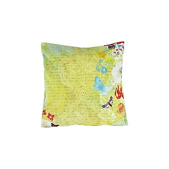 Fabric Decorative Pillow With Scripted Details, Yellow