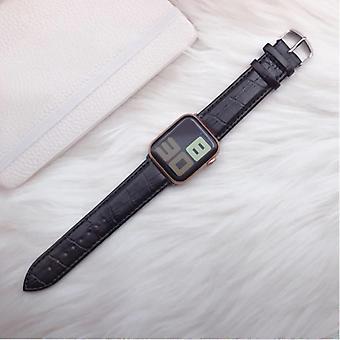 الاشياء المعتمدة® حزام جلدي ل iWatch 44mm - سوار سوار الجلود جلدية حزام مراقبة غير القابل للصدأ الصلب المشبك تمساح أسود