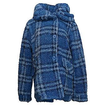 Centigrade Women's Jacket Plaid Sherpa With Button Closure Blue A38216