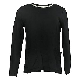Isaac Mizrahi Live! Women's Top Crew Neck With Pockets Black A387350