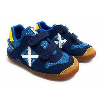 ميونيخ الطفل الهدف أحذية رياضية مع حزام جلد الغزال / البحرية الأزرق النسيج Z21mu07