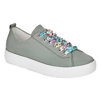Remonte Green Ribbon Lace Up Leather Upper Ladies Trainer