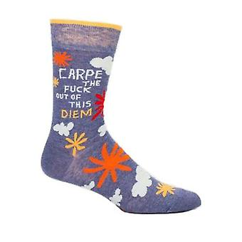 Blau q - carpe die f**k aus diesem diem Mens Crew Socken