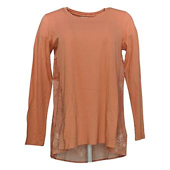 LOGOTIPO por Lori Goldstein Women's Top Knit Long Sleeve Orange A351325