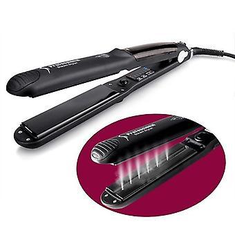 damp hår rettetang multifunksjonell damp hår rettetang LED-skjerm keramisk dual purpose curling jern for våt og tørr hår spray rette splint EU plugg