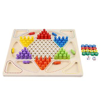 Double-faced Mini Chess Game, Checkerboard Wooden Flying Checkers, Ludo Board