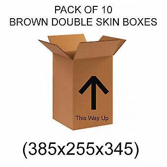 Double Skin Ruskea Muuttolaatikot - Pakkaus 10 NUOLTA & This Way Up 385 x 255 x 345