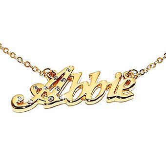 """L Abbie - 18-karat forgyldt halskæde, med tilpasselig navn, justerbar kæde af 16 """"- 19"""", i Regal Packaging"""