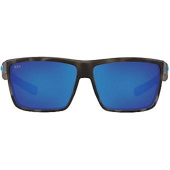 Costa Del Mar Mens Rinconcito Polarized Rectangular Sunglasses - Ocearch Matte Tiger Shark/Grey Blue Mirrored - 60 mm