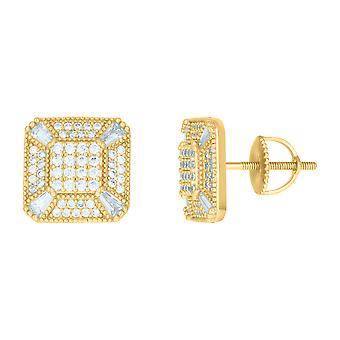 925 Sterling Silver Yellow tone Mens Baguette Cubic zirconia Square Fashion Stud Earrings Jewelry Gifts for Men