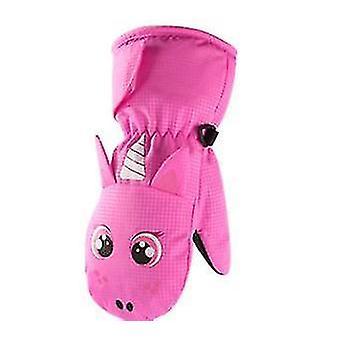 L ružové fleece závesné rukavice na krku pre deti x4326