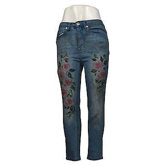 DG2 by Diane Gilman Women's Jeans Cropped Rose Art Dirty Blue 667425