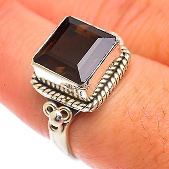 Smoky Quartz Ring Size 8 (925 Sterling Silver)  - Handmade Boho Vintage Jewelry RING66251