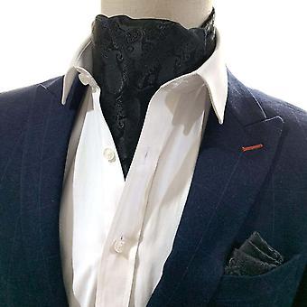 Musta paisley cravat & pocket neliösetti