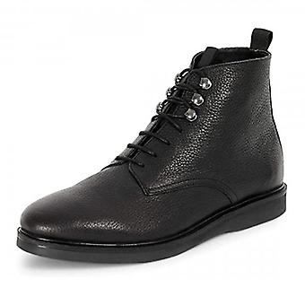 Hudson Battle Black Leather Lace Up Boots