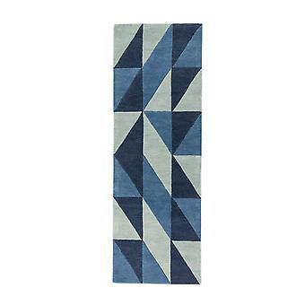 Reef Flag Geometric Wool Runner Rugs Rf04 In Blue