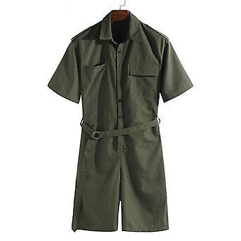 Men Romper Jumpsuit With Belt, Half Sleeve Streetwear, Casual Playsuit