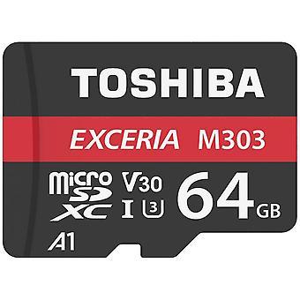 Toshiba M303 Memory Card 64GB microSDXC, 98 MB/s, Class 10, UHS-I, U3, V30, A1 with Adapter