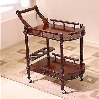Wielofunkcyjny, dwuwarstwowy, ruchomy wózek z litego drewna