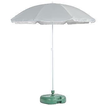 Metal Beach Parasol &Base Set Sun Umbrella UPF50+ 1.74 x 1.93m Gris/Verde