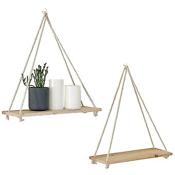 Wooden Rope Swing Wall Hanging Plant Flower Pot Tray Mounted Floating Wall Shelves Nordic Home