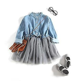 Girl Dress One Piece Tulle Tutu Princess Dress Long Sleeve Shirt Dress(90cm)