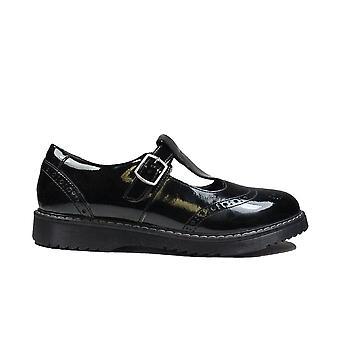 Startrite Föreställ dig svart patent läder flickor T Bar Skolskor