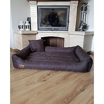 XXL Psí postel z hnědé umělé kůže - psí polštářová pohovka kočičí postel psí úl - vodotěsný