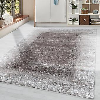 Woonkamer tapijt korte stapel modern design rand licht zacht flor beige crème