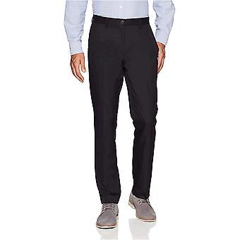 Essentials Menn's Slim-Fit Flat-Front Dress bukser, Navy, 34W x 31L