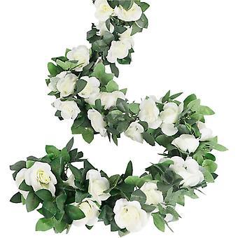 Guirnalda de rosas, Zarcillos de rosa artificial, 4 piezas, Seda artificial, Guirnaldas de flores Jardín Decoración Roja