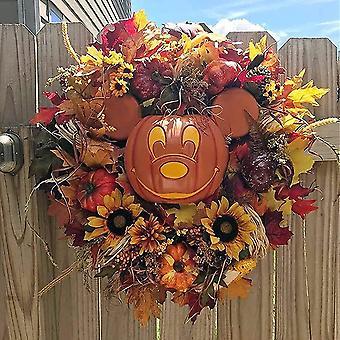 Halloween Pumpkin Wreath Decoration Autumn Pumpkin Front Door Decoration Harvest Thanksgiving