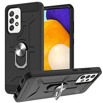 Boîtier pour Samsung Galaxy A52 5g / 4g Anneau rotatif Béquille Béquille Hockproof Protection contre les chocs -noir