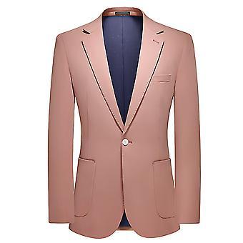 Mile Men's Slim Fit Suit Suit One Button Solid Blazer Jacket