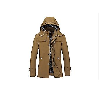 Autumn And Winter New Men's Mid Length Casual Cotton Jacket, Slim Fit Hooded Stand