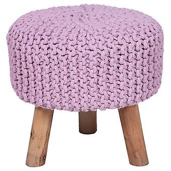 Käsintehty puuvilla punos jakkara neulottu ottomaanien pouf jalka levätä pehmeä istumapaikkoja laventeli