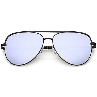 Premium Oversize Metal Aviator Sunglasses With Colored Mirror Lens And Crossbar 60mm