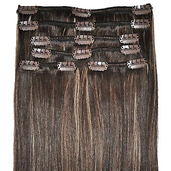 #4/18 Dark Brunette with Golden Blonde Highlights - Clip-in Hair Extensions - Full Head