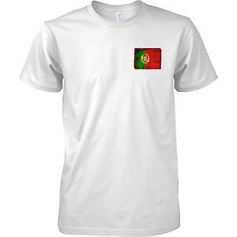 Portugal Grunge Grunge Effekt Flag - Mens Brust Design T-Shirt