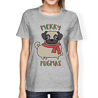 Merry Pugmas Pug mamma regali per Natale Womens carino grafica Tshirt