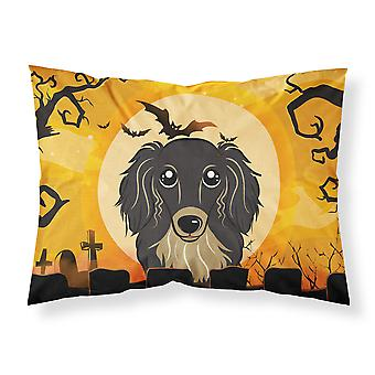 Halloween Longhair Black and Tan Dachshund Fabric Standard Pillowcase