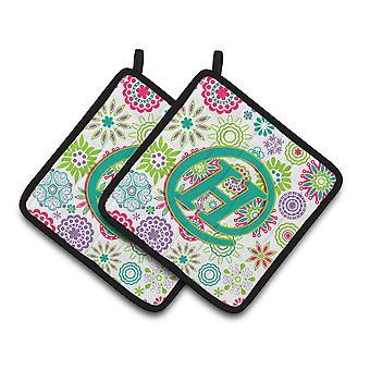 Bokstaven H blommor rosa Teal grön första par grytlappar